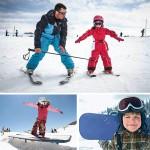 Урок катания на сноуборде или лыжах для детей